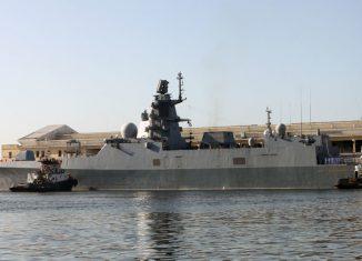 La fragata Almirante Gorshkov pertenece a la nueva generación de buques de guerra rusos, equipada con el sistema artillero a-192 Armat de 130 milímetros de calibre
