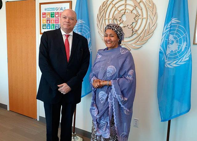 Rodrigo Malmierca intercambio con la Presidenta de la Asamblea General, María Fernanda Espinosa; la vicesecretaria General de la ONU, Amina Mohammed; y con el administrador del PNUD, Achim Steiner.