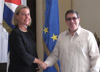 Bruno Rodríguez Parrilla y Federica Mogherini destacaron la importancia del Acuerdo de Diálogo Político y Cooperación, firmado a finales de 2016, como marco regulatorio para la consolidación de los vínculos entre las dos partes.