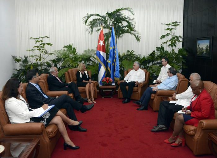 En un ambiente cordial, dialogaron sobre la reciente realización del segundo Consejo Conjunto entre Cuba-Unión Europea y la instrumentación del Acuerdo de Diálogo Político y Cooperación