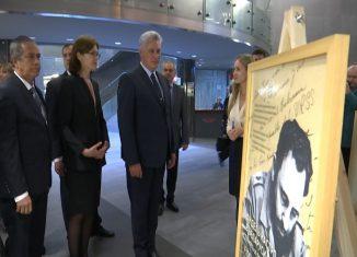 El presidente cubano, Miguel-Díaz Canel Bermúdez, inauguró la exposición ¨Fidel Castro en Belarús: memoria y continuidad¨, en el capitalino Museo Estatal de Historia de la Gran Guerra Patria.