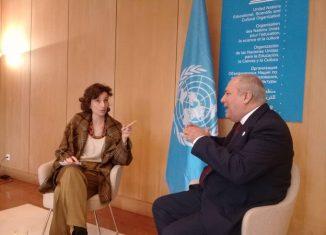 Audrey Azoulay reconoció la labor de Cuba en las áreas de competencia de la UNESCO y agradeció la participación de Alpidio Alonso en la 40 sesión de la Conferencia General de la organización, y en particular en el Foro de Ministros de Cultura.