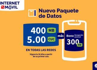 a partir del 4 de diciembre se comercializarán un nuevo paquete de datos para navegar en todas las redes. La oferta establece que por 5.00 CUC podrán disfrutarse 400MB + 300MB de Bono navegación nacional con 30 días de vigencia a partir de su primer uso.