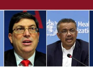 El canciller cubano denunció en un encuentro con el director general de la Organización Mundial de la Salud que la agresividad de Washington priva de asistencia de calidad a millones de seres humanos.