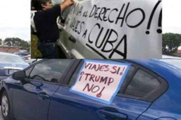 Los automóviles, que llevaron cárteles con los reclamos, en español e inglés, de viajar a la mayor de las Antillas, recorrieron durante más de una hora gran parte de la Calle 8 y otras avenidas de Miami.