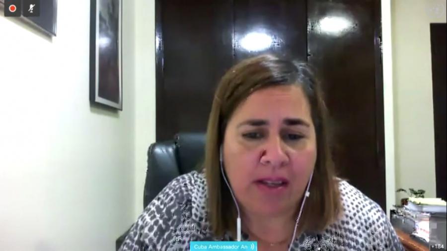 La representante permanente alterna de Cuba ante Naciones Unidas, Ana Silvia Rodríguez, destacó en una sesión virtual del Consejo Económico y Social (Ecosoc) cómo esas medidas obstruyen la capacidad de los Estados para adquirir equipamiento y suministros médicos esenciales contra la epidemia.