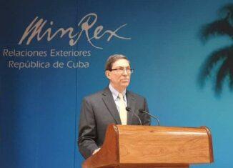 El Canciller cubano, Bruno Rodríguez Parrilla, se refiere durante su intervención a las más recientes declaraciones de la administración de Joe Biden