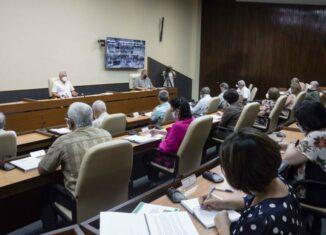 La doctora Ileana Morales Suárez, directora de Ciencia e Innovación del MINSAP realizó la presentación, que abarca acciones organizativas, como la constitución de grupos de trabajo para el seguimiento de los casos confirmados ingresados en el hogar